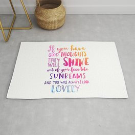 Good thoughts - colorful lettering Rug