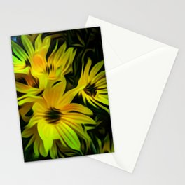 Abstract Yellow Flower Image Stationery Cards