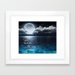 Full Moon over Ocean Framed Art Print