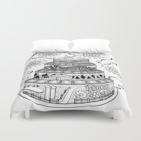 Country Wedding Cake Zentangle Style Duvet Cover