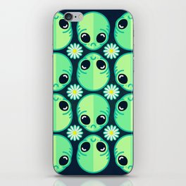 Sad Alien and Daisy Nineties Grunge Pattern iPhone Skin