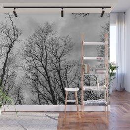 Creepy black and white trees Wall Mural