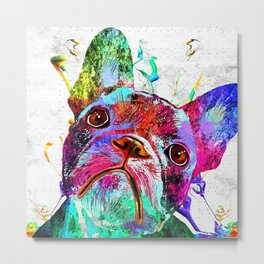 Frenchie Grunge Portrait Metal Print