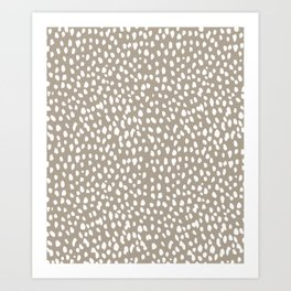 White on Dark Taupe spots Art Print