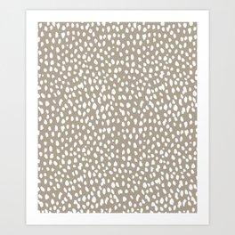 White on Dark Taupe spots Kunstdrucke