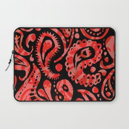 Handpainted Paisley Pattern Red Peach and Black Color Laptop Sleeve