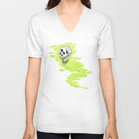 lv V-neck T-shirts featuring Lv. 24 Skeletal Wisp by Creeps by Caleb