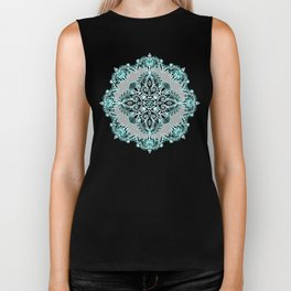 Teal and Aqua Lace Mandala on Grey Biker Tank