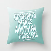 creativity Throw Pillows featuring Creativity by Chelsea Herrick