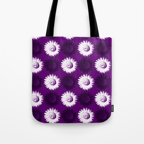 Sunflower black, white and purple Tote Bag