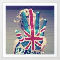 british flag Art Prints featuring british flag love by Starr Shaver