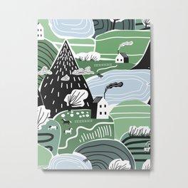 Mountain Valley Village Cute Scandinavian Homes Green Hills Seamless Pattern Metal Print