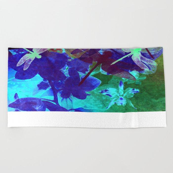 Dragonflies W Beach Towel