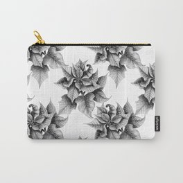 Black and White Poinsettia Carry-All Pouch