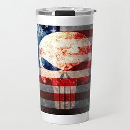 Skull and American Flag on Distressed Metal Travel Mug