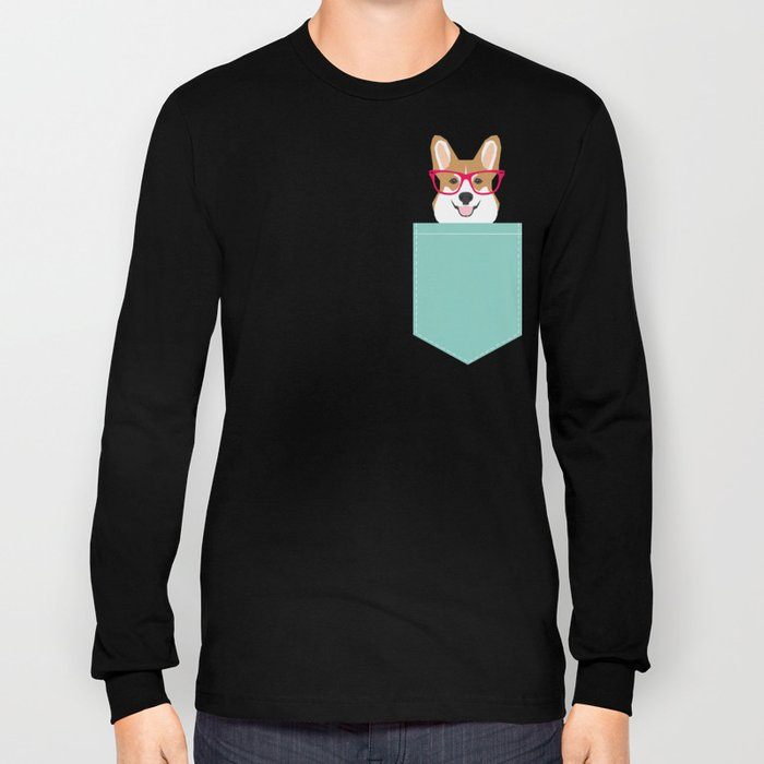 Teagan Glasses Corgi cute puppy welsh corgi gifts for dog lovers and pet owners love corgi puppies Long Sleeve T-shirt