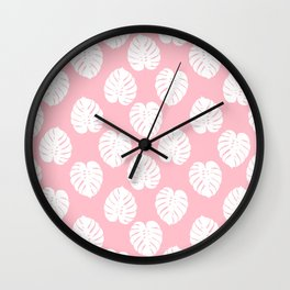 Basic monstera hipster house plant leaf tropical vibes for home decor office dorm room Wall Clock