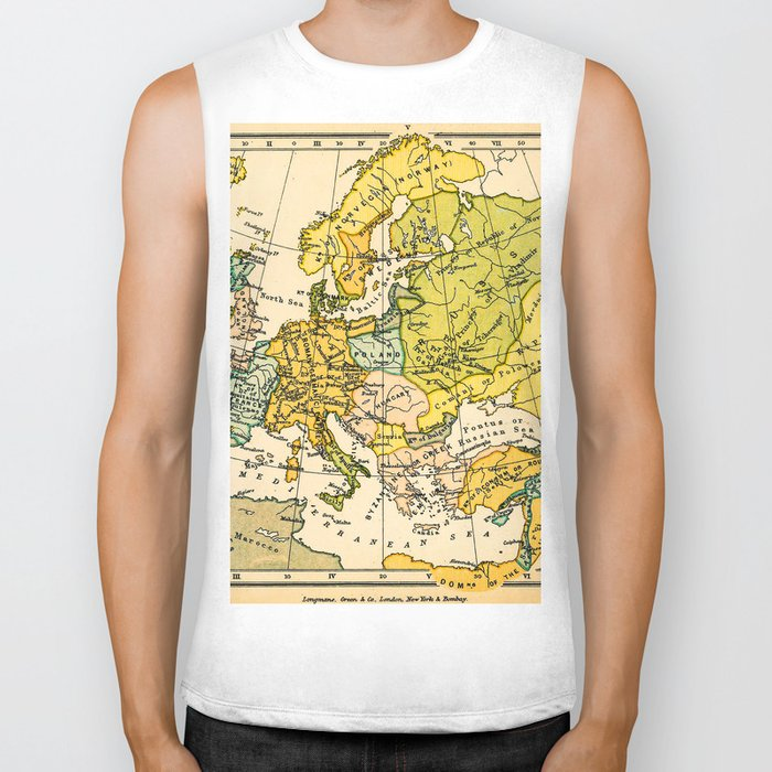 Europe in 1135 - Vintage Map Collection Biker Tank