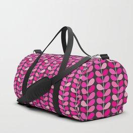 Mid Century Danish Leaves, Fuchsia Pink and Gray Duffle Bag