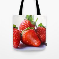 strawberry Tote Bags featuring Strawberry by Nicole Mason-Rawle