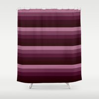 burgundy Shower Curtains featuring Burgundy stripes by SimplyChic