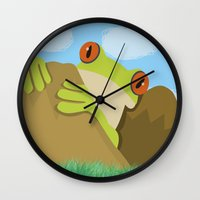 spawn Wall Clocks featuring Frog by Nir P