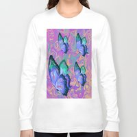 butterflies Long Sleeve T-shirts featuring butterflies by Shea33