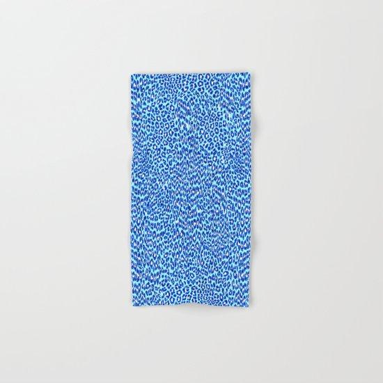 Blue Glitter Cheetah Print Hand & Bath Towel