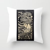geisha Throw Pillows featuring Geisha by Mario Sayavedra