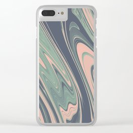 Abstract mauve blue pink turquoise marble Clear iPhone Case
