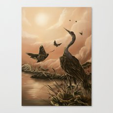 Crane and moth  Canvas Print