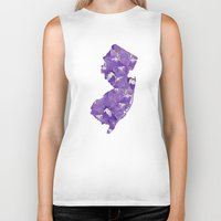 new jersey Biker Tanks featuring New Jersey in Flowers by Ursula Rodgers