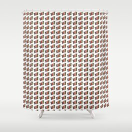 Narrowboat art Jugs pattern Shower Curtain