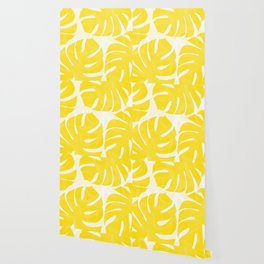 Mellow Yellow Monstera Leaves White Background #decor #society6 #buyart Wallpaper