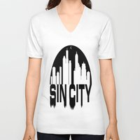 sin city V-neck T-shirts featuring SIN CITY  by Robleedesigns