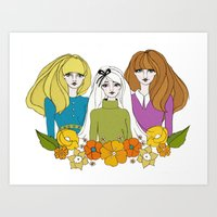 60s Art Prints featuring 60s girls by Bunny Miele