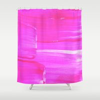 hot pink Shower Curtains featuring Hot PINK by HollyJonesEcu