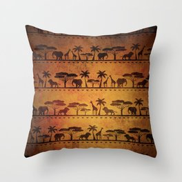 African Animal Pattern Throw Pillow