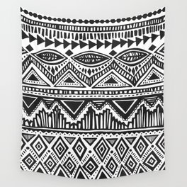 zig-zag handdrawn black and white Wall Tapestry