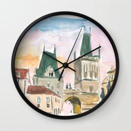 Prague Czech Republic Charles Bridge Scene Wall Clock