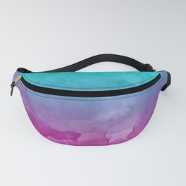 Modern bright summer turquoise pink watercolor ombre hand painted background Fanny Pack