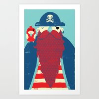 captain Art Prints featuring Old Captain Redbeard by Monster Riot