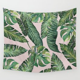 Jungle Leaves, Banana, Monstera Pink #society6 Wall Tapestry