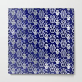 Hamsa Hand pattern - pearl and silver on lapis lazuli Metal Print
