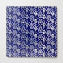Hamsa Hand pattern - pearl and silver on lapis lazuli Metal Print