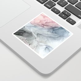 Pastel Blush, Grey and Blue Ink Clouds Painting Sticker
