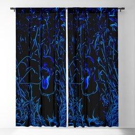 doberman dog red flowers meadow vector art blue conturs Blackout Curtain