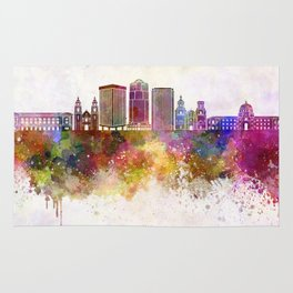 Tucson V2 skyline in watercolor background Rug