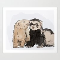 ferret Art Prints featuring Ferret Kisses by Dannie Ann