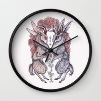 rare Wall Clocks featuring Rare Hearts by Caitlin Hackett